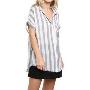 Umgee Striped Collared Button Up Shirt Raw Hem L